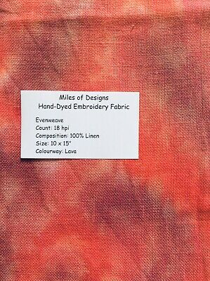 "Hand Dyed 18 Count Linen Evenweave, 10 x 15"", Lava"