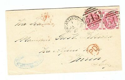 Great Britain NEWCASTLE-ON-TYNE COVER TO Torino Italy 1867