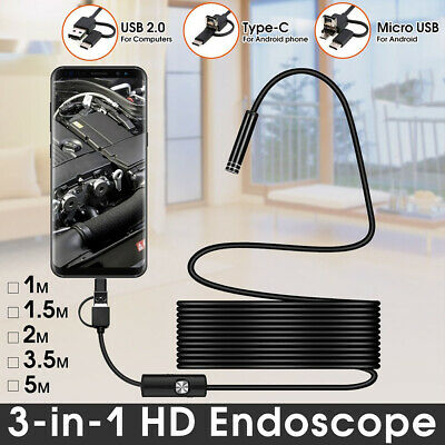 LED Light USB Type-C Borescope Endoscope Inspection Camera For Android Phone PC