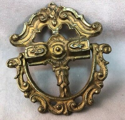 Vintage Antique Brass Ornate Small Drop Ring Bail Dresser Drawer Pull Cross