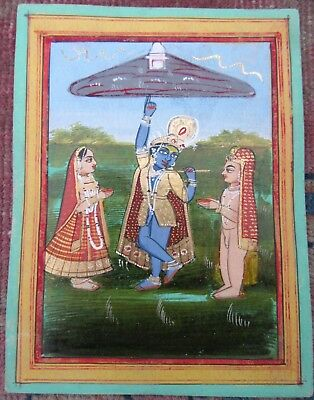 Antique Indian Miniature Painting  Krishna Lifts Mount Govardhan