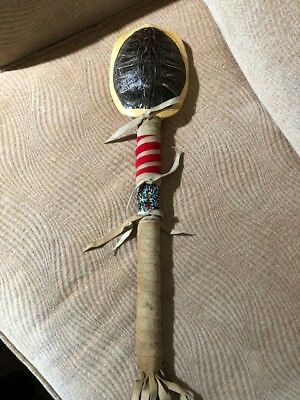 Native American Hand Crafted Turtle Shell Rattle by  Creek Artist LA NE AYO