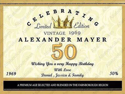 Personalised Happy Birthday Champagne Bottle Sticker Label Any Age, Message,Name