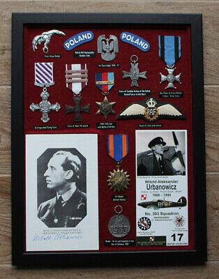 WITOLD URBANOWICZ ### ww2 great Polish fighter ace signed card in display