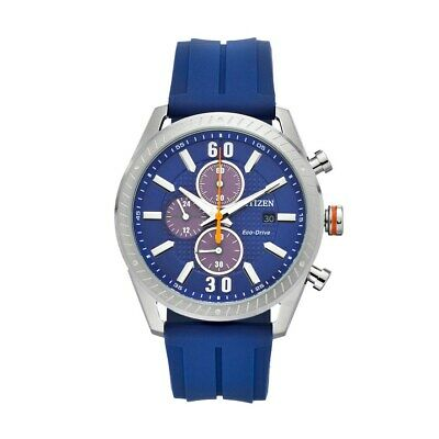 Citizen Eco-Drive Men's CTO Chronograph Blue Strap 43mm Watch CA0661-01L
