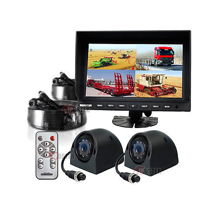 "9"" Quad Monitor + 2x 4Pin Side View CCD Camera + 2x 10m Cables 24V-12V Truck Van"