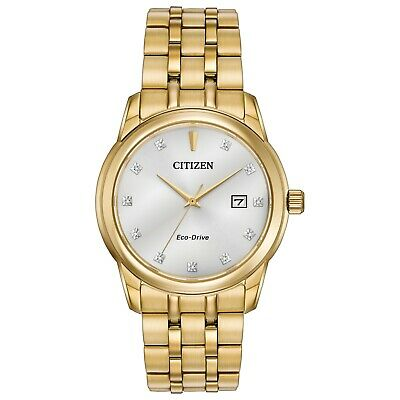 Citizen Eco-Drive Men's Diamond Accents Gold-Tone Bracelet 39mm Watch BM7342-50A