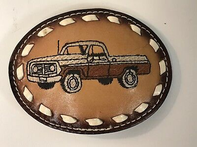 Vintage- Hand Stiched  - Tooled Leather -  Belt Buckle - Pick Up Truck