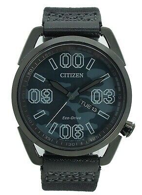 Citizen Men's Eco-Drive Camouflage Dial Black Nylon Strap 42mm Watch AW0018-00F