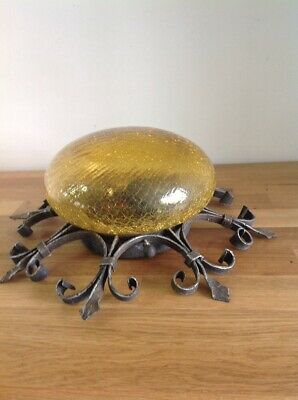 Vintage Antique Wall Light Wrought Iron Crackle Amber Glass Salvaged Art Deco