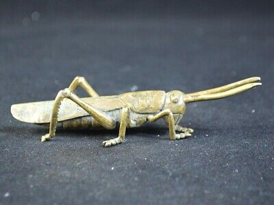 Vintage Collection China Old Brass Statue Sculpture Figure Of Grasshopper 19.Jhd