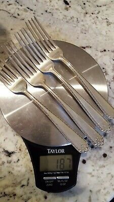 """Four """"Lady Hilton"""" Sterling Dinner Forks by Westmoreland"""
