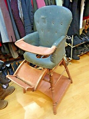 original antique victorian Metamorphic child children high chair shabby chic