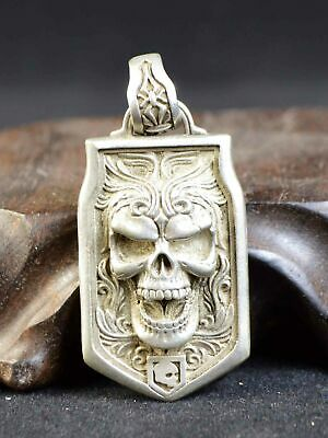 Collection Silver Hand-carved Skull Necklace Pendant Fashion Men Ma'am Gifts