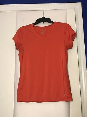 d9902c9534a7ae Champion Womens Double Dry Workout T Shirt Top Pink orange V Neck Short  Sleeve M