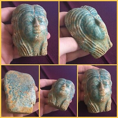 Rare ancient large faience stone blue cleopatra bust , cc945-715.b.c