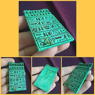 Ancient Blue Faience Hieroglyphic Amulet Panel Pendant. 664/332BC
