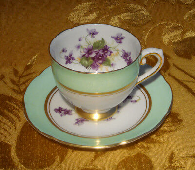 Stanley Tea Cup Violets Pale Green Bands Gold Trimmed Made In England