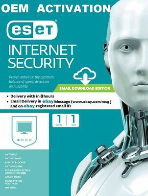 ESET INTERNET SECURITY 2019 - 1 PC - 1 Year Download Key Only - Windows,Mac -ESD