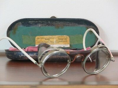 Vintage American Optical Safety Goggles Glasses Metal Leather Glass Round w Case