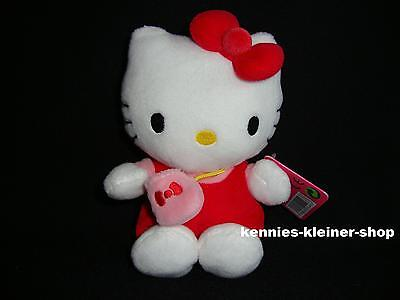 "Hello Kitty Plüsch ""Rot mit Tasche"" 16 cm Stofftier-Figur Kittie Kitti Bean Bag"