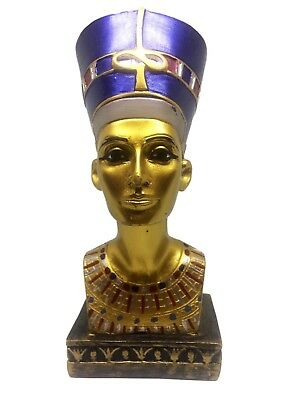 Vintage Egyptian Statue Queen Nefertiti Bust Statue Figure Gold Hand painted