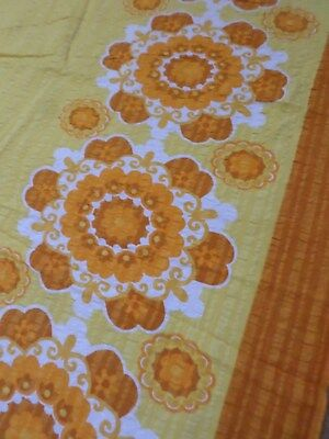 Retro Vintage Orange And Yellow Floral Rectangle Seersucker Tablecloth....