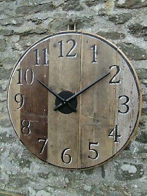 Large Rustic Wooden Wall Clock - Reclaimed Floorboards