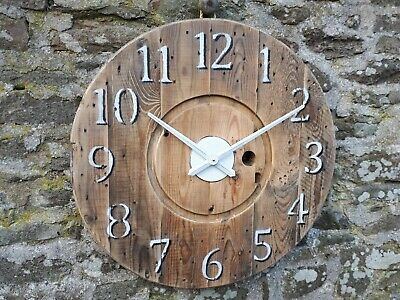 Large Rustic Wooden Wall Clock - Industrial Cable Reel