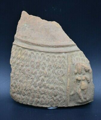 Rare ancient Bactrian terracotta decorated pottery fragment C. 300 BC