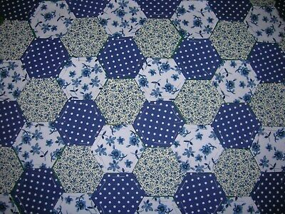 Fabric Hexagons X 100 Tacked To Paper Template Epp Blue&white Patchwork  Oct