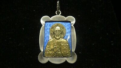 Antique  Sterling Silver+Enamel Imperial Russia Orthodox Religious Pendant~1900