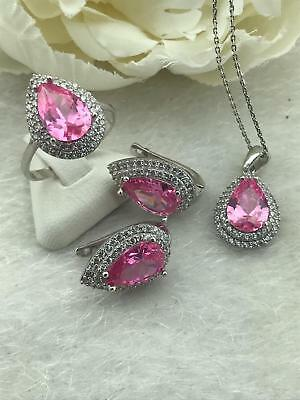925 Sterling Silver Handmade AAA Quality Jewelry Pink Zircon Ladie's Full Set