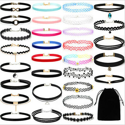 30PCS Black Velvet Choker Necklace Gothic Tattoo Ribbon Lace Choker with Bag Set