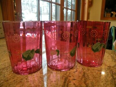 Set of 3 Old Antique Victorian Cranberry Glass Enameled Ribbed Tumblers