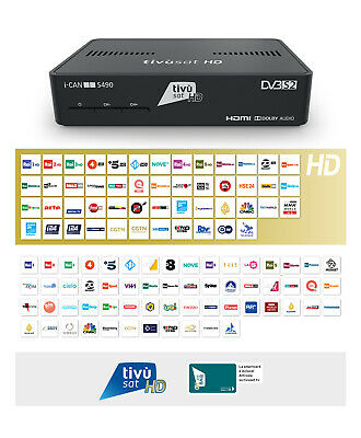 DECODER SATELLITARE TV SAT I-CAN 3900S HD con tessera tivusat  HD Gold ORO USB_1
