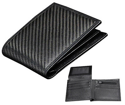 Real Carbon Fiber Leather Wallet Green Stitches ID card holder bifold w212 TT