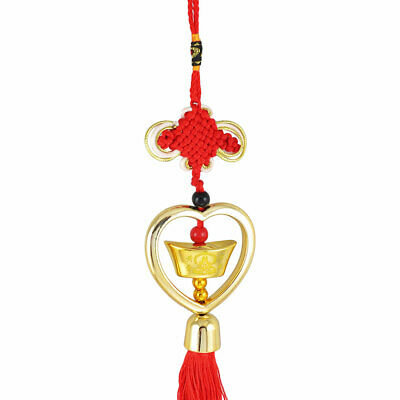 Gold Tone Faux Sycee Pendant Red Chinese Knot Tassel Hanging Decoration