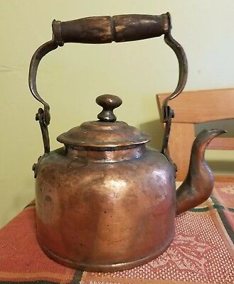 "Vintage Copper Tea Pot Hand Forged 8 1/2""-9"" Tall with Handle - 6"" Diameter"