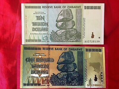 Zimbabwe 10 Trillion Currency Unc Banknote Real Note + Coloured Gold 100 Trilli