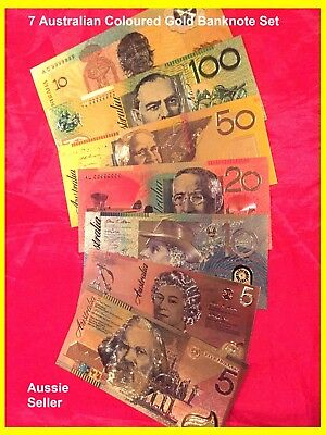 Australia Bank Note 7 Coloured 24K Gold Banknotes New Banknote Set
