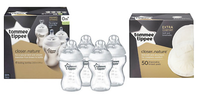Tommee Tippee Closer to Nature 4 Pack Bottles 260ml/9oz + 50 Pack Breast Pads