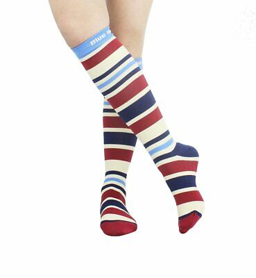 Blue Beat Compression Socks Knee High 15-20 mmHg Women's Stripe Shoe Size 6-8.5