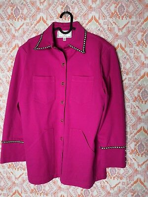 St. John Sport by Marie Gray Women Small Jacket Gold Buttons Hot Pink  Western 0a28c0be9