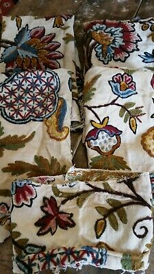 Vintage Crewel Chair Covering~ Several Pieces For Chair Or Pillows