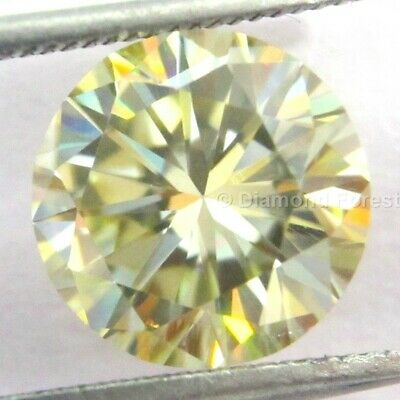 3.33 Ct Certified Genuine Loose Moissanite 9.70 MM Light Yellow I1 Round Cut