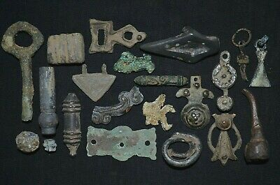 Group of 21 Ancient Viking Bronze Amulets. Metal Detector Finds, c 950-1000 Ad.