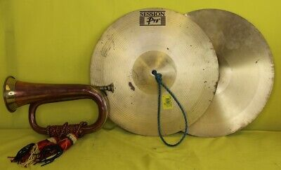 Set of Brass Cymbals and Vintage Brass and Copper Bugle #OAFWH01EJ