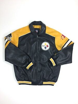 new concept 6074f e2bcb G-III PITTSBURGH STEELERS Leather Jacket Sz. L NFL Football AFC Super Bowl  G3