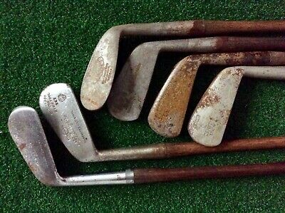 6 Antique Vintage Hickory Wood GOLF CLUBS, 3 MADE SCOTLAND, BELLWOOD, NICOLL
